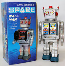 Vintage 1990's Tin Litho Battery Operated Silver SPACE 'WALK MAN' ROBOT in Box!