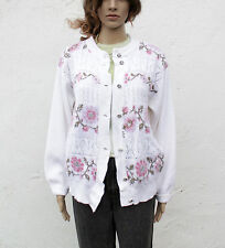 Vintage 1980/90s Intarsia Floral Cable Pattern Oversized White Cardigan Grunge L