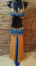Egyptian Belly Dance Costume bra & Skirt Set Professional Dancing Blue Gold