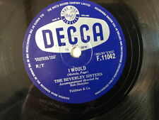"78 rpm 10"" THE BEVERLEY SISTERS i would / left right"