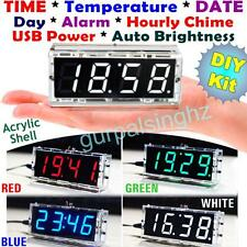 With Case Big Screen LED Electronic Clock DIY Kit 4 Digit With Temperature Date
