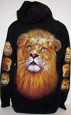 SWEATER HOODIE JACKET LION TIGER ANIMAL  T SHIRT CAT ROCK EAGLE TATTOO SZ MEDIUM