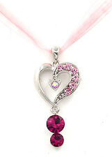 Swarovski Elements Crystal Pink Rose Silver Love Heart Sheer Lace Necklace Gift