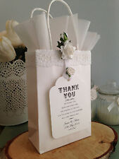 Personalised Wedding Favour White Gift Bags x10 & White Tissue, Roses Lace & Tag