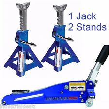 Combo 1.5 Ton Low Profile Rapid Compact Aluminum Floor Jack W/ (2) 3 Ton Stands