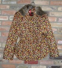 NWT Oilily Medium Large L M 40 8 10 Brown Floral Print Winter Snow Ski Parka