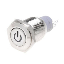 1pc RED Metal 16mm 12V Power Symbol Angle Eye LED Push Button Switch