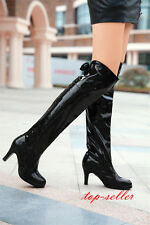 New Women high heel Party Patent leather over knee thigh high boot platform Shoe