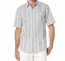 Cubavera Mens Shirt Sz XXL White Multi Plaid Cotton Short Sleeve Button Down