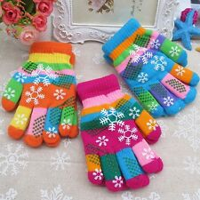 Kids Children Boy Girl Snowflake Finger Winter Gloves Xmas Knitted Gloves