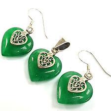 Plata esterlina 925 Estilo Victoriano Verde Jade conjunto Pendientes Colgante Corazón Floral
