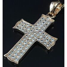 925 Sterling Silver 0.70 Carat Cubic Zirconia Rose Gold Plated Cross Pendant UK