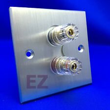 Brushed Solid Aluminum Sound Speaker Wall Face Plate 2 Copper Binding Post BPP2