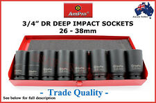 "AMPRO 3/4"" DR DEEP IMPACT SOCKET SET AMERICAN PRO QUALITY AIR WRENCH TOOLS GUN"