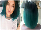 Ombre Black Roots to Dark Green Teal Turquoise Heat Resistant Bob Lace Wigs