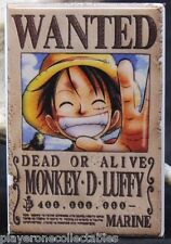 "Monkey D. Luffy Wanted Poster 2"" X 3"" Fridge / Locker Magnet. One Piece Anime"