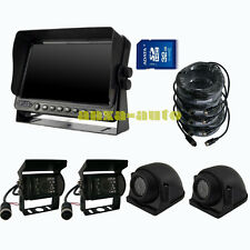 "A66 9"" QUAD MONITOR BUILT-IN DVR REAR VIEW REVERSE BACKUP CAMERA KIT FOR TRUCK"