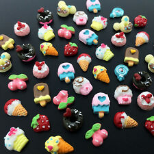 24Pcs 3D Doughnut Fruit Candy Ice Cream Resin Studs Nail Art Stickers Decoration