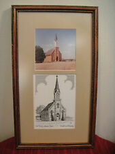 BEATRICE, NE VINTAGE SIGNED SKETCH AND PHOTO OF THE FIRST TRINITY CHURCH RARE