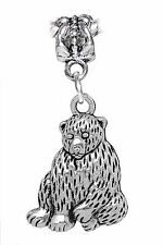 Sitting Bear Zoo Animal Camping Dangle Charm for Silver European Bead Bracelets