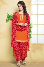 Elegant Crepe Designer Printed Patiala Unstitched Dress Material Suit.No AM203