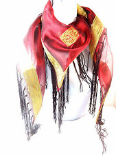 LADIES RED GOLD LINED SCARF BOLD TRIANGULAR ROYAL REGAL LOOK BRAND (BL3)