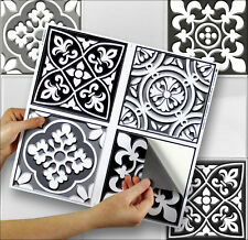 "4 Tile Transfer Stickers 6""x 6"" MONOCHROME for Kitchen & Bathroom tiles"