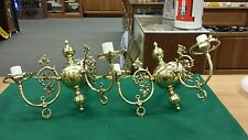 """Vintage pair fancy decorative brass wall sconces double """"candle"""" electric lights"""