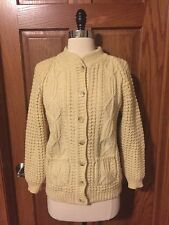 Vtg Gaeltarra Irish Fisherman Cardigan Sweater Wool Aran Cable Knit Ireland XS/S