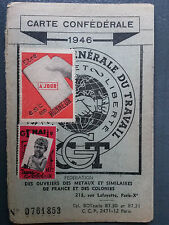 Carte syndicaliste Syndicat CGT 1946 métallurgie France Colonies 15 timbres