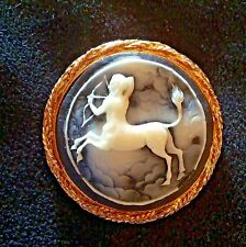 Vintage Sagittarius Zodiac Large Cameo Brooch Pin Detailed Beautiful Design