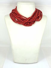 Vintage Natural Untreated Ox Blood Coral 18K Gold Multi Strand Torsade Necklace