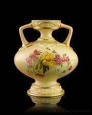 Royal Worcester Blush Ivory Floral & Gilt Twin Handled Vase C.1896