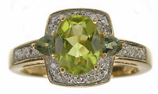 14KT Yellow Glad 1.25 Cttw Olive Apatite 3-Stone and Diamond Accent Ring Size 5