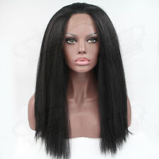Ladies Black Yaki Kinky Straight Heat Resistant Fiber Lace Front Glueless Wig