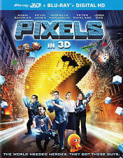 Pixels (3D Blu-ray + Blu-ray + UltraViolet) DVDs-Good Condition