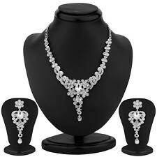 Sukkhi Traditional Rhodium Plated Australian Diamond Necklace Set