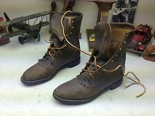 BROWN LEATHER LACE JUSTIN DISTRESSED LACE UP GRANNY KILTIE BOOTS SIZE 7.5 B