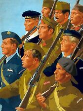 PAINTINGS PORTRAIT ALLIED SERVICES SOLDIER SAILOR WWII ART POSTER PRINT LV3299