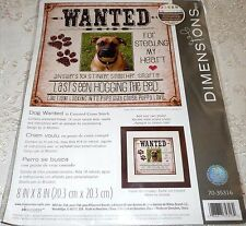 """Dimensions Counted Cross Stitch Kit DOG WANTED 8"""" x 8"""""""
