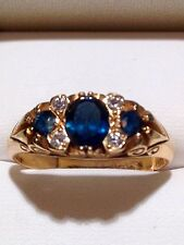 Stunning 18ct Yellow Solid Gold triology 3 Sapphire & Four Diamond Ring Size 9