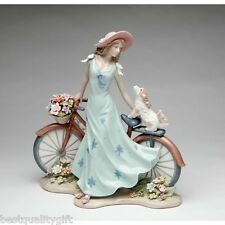 "10 5/8""H-HANDMADE PORCELAIN RIDING BIKE WITH MY BEST FRIEND FIGURINE-NAIS-10414"
