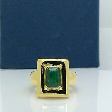 14k Yellow Gold Natural Emerald Cut Emerald Ring May Birthstone