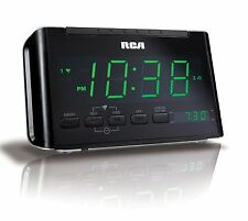 RCA RC40R Dual Wake Clock Radio with Large Green LED Display
