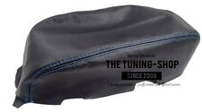 FOR FORD MONDEO ST 2003-06 BLACK ITALIAN LEATHER ARMREST COVER WITH BLUE STITCH