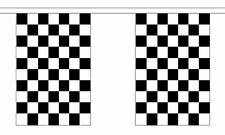 BLACK & AND WHITE CHECKERED chequered 18m metre BUNTING 60 feet 30 flags flag
