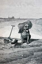 Harry Beard 1885 OLD SEA  DOG in STRAW HAT at BEACH SHOES Matted Antique Print
