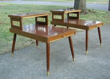 Mid Century Modern End Tables 2 Tier Wood Walnut Formica Tapered Legs