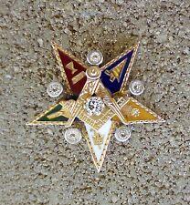 1930's DAWKINS BENNY Masonic Star 14K Gold 6 Diamonds Enamel Medal Pin HAWAII
