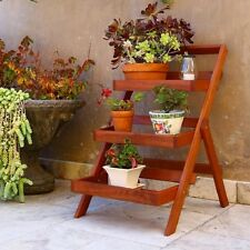 Patio 3 Tier Ladder Plant Stand Eucalyptus Wood Weather Resistant  Natural